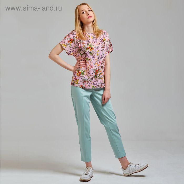 Блуза женская, размер 50, рост 170 см, цвет цветы на розовом (арт. B1392-0869 С+)