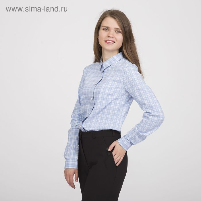 Блуза женская, размер 48, рост 170 см, цвет голубая клетка (арт. Y1133-0171)