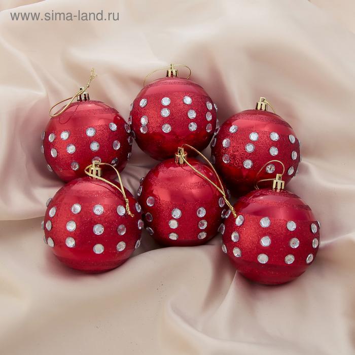 """Новогодние шары """"Красная капель"""" (набор 6 шт.)"""