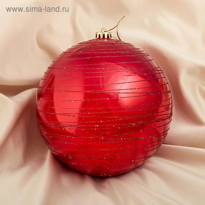 """Новогодний шар """"Полосы"""", красный"""
