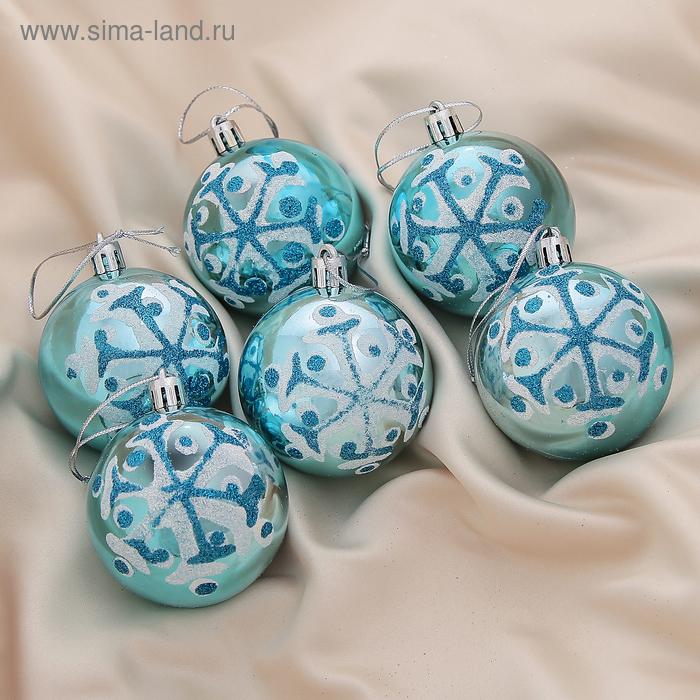 """Новогодние шары """"Голубая снежинка"""" (набор 6 шт.)"""
