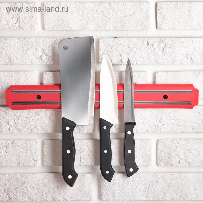 Держатель для ножей магнитный 38 см, цвет красный
