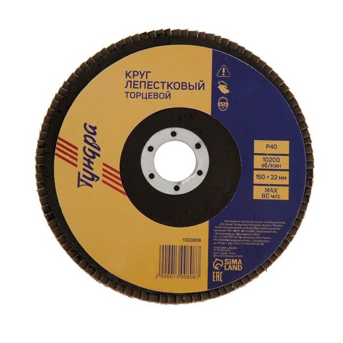 Круг лепестковый торцевой TUNDRA, 150 х 22 мм, Р40