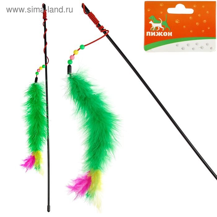 Дразнилка удочка с перьями, пуховым хвостиком и бусинами, микс цветов