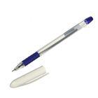 Ручка шариковая, 1.0 мм, синяя, корпус прозрачный,с резиновым держателем