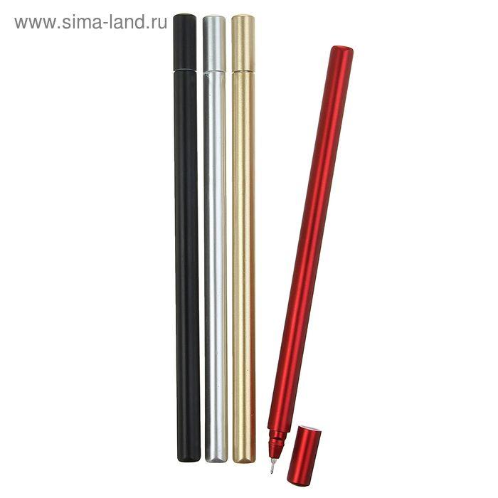 Ручка гелевая 0,5мм синяя корпус металлик МИКС игольчатый пишущий узел NEW КР-939