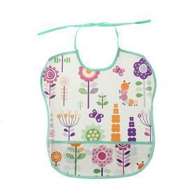 Нагрудник с карманом «Цветы», из клеёнки с ПВХ-покрытием, на завязках, цвета МИКС