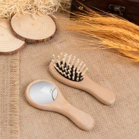 Набор 2 предмета: расчёска массажная, зеркало, 12см Ош