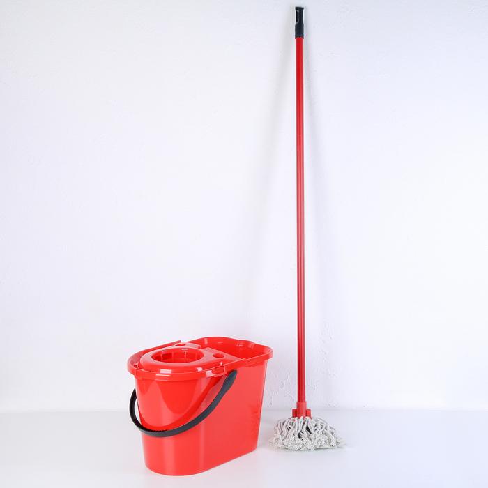 Набор для уборки: ведро с отжимом 14 л, насадка х/б, черенок 110 см, цвет синий