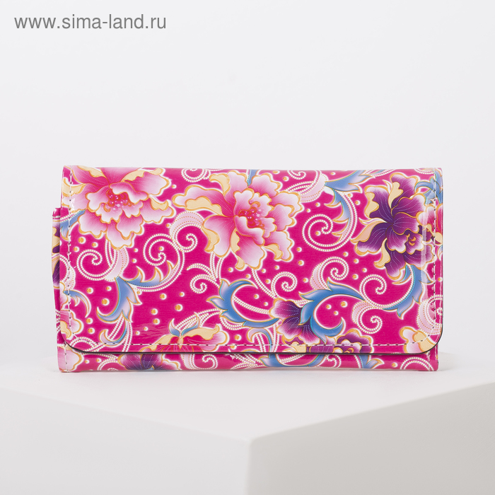 """Кошелёк женский на клапане """"Цветочный рай"""", 4 отдела, отдел на рамке, отдел для карт, цвет малиновый"""
