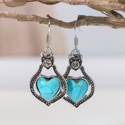 """Серьги """"Бирюзовый мир"""" сердце, цвет голубой в чернёном серебре"""