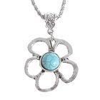 """Кулон """"Бирюзовый мир"""" цветок, цвет голубой в серебре, 80см"""