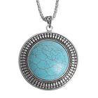 """Кулон """"Бирюзовый мир"""" круг, цвет голубой в серебре, 80см"""