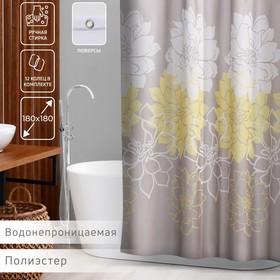 Штора для ванной комнаты Доляна «Большие цветы», 180×180 см, полиэстер, цвет жёлтый