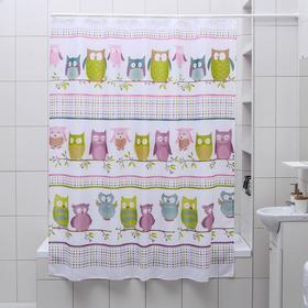Штора для ванной комнаты Доляна «Совушки», 180×180 см, полиэстер