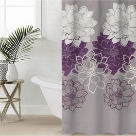 Штора для ванной комнаты Доляна «Большие цветы», 180×180 см, полиэстер, цвет сиреневый