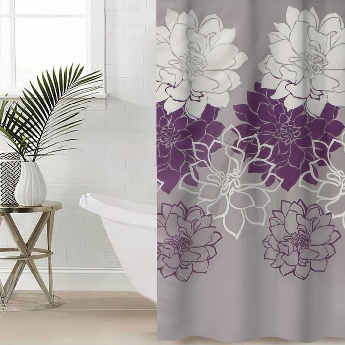 """Штора для ванной 180х180 см """"Большие цветы"""", полиэстер, цвет сиреневый"""