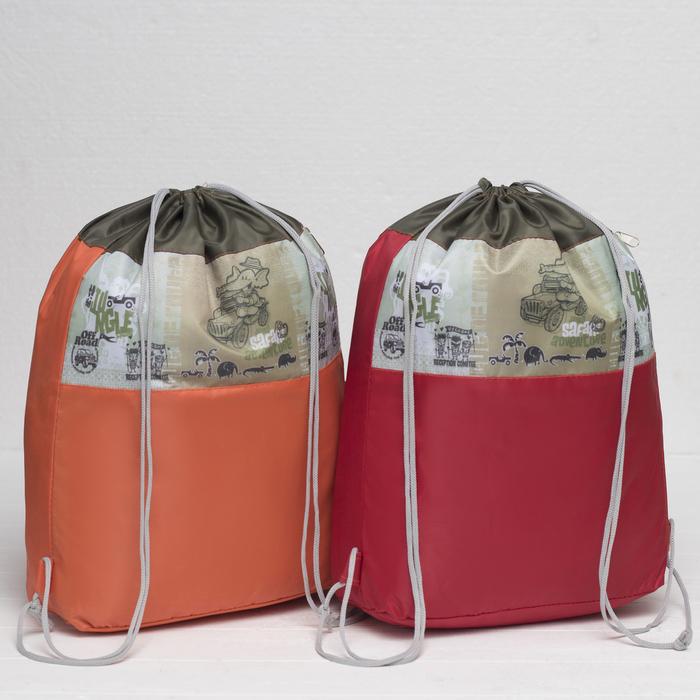 Мешок для обуви, отдел на шнурке, наружный карман, цвет оранжевый