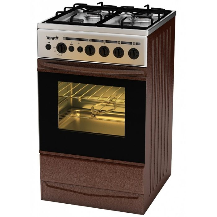 Плита газовая Terra SH 14.120-01 Br, 4 конфорки, 55 л, газовая духовка, коричневая