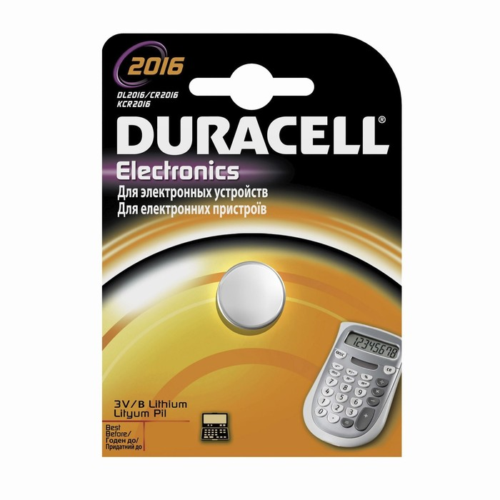 Батарейка литиевая Duracell, CR2016-1BL, блистер, 1 шт.