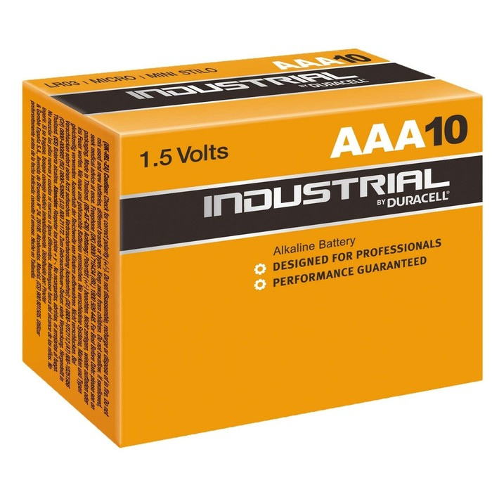Батарейка алкалиновая Duracell Industrial, ААА, LR03-10BOX, набор 10 шт.