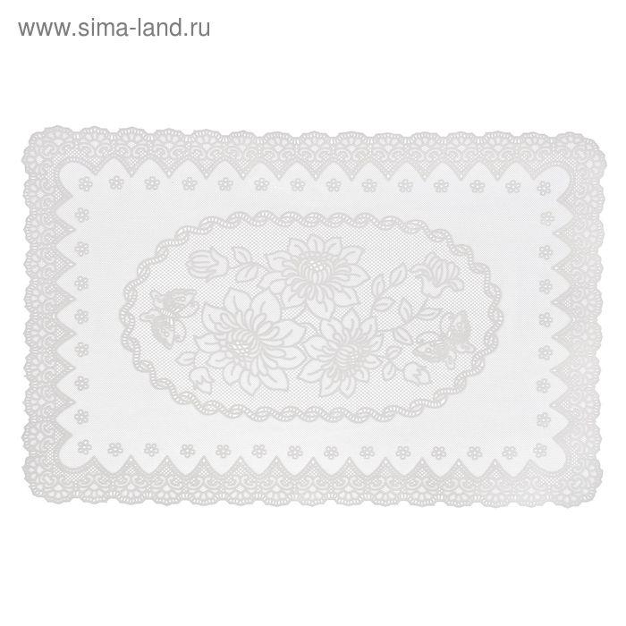 """Салфетка ажурная ПВХ 46х30 см """"Букет"""", цвет белый"""