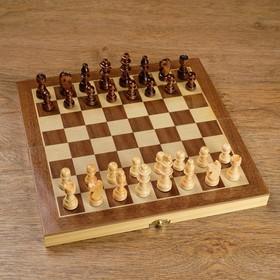 Шахматы деревянные, доска из сборных элементов, 30 × 30 см, фигуры в подложке микс