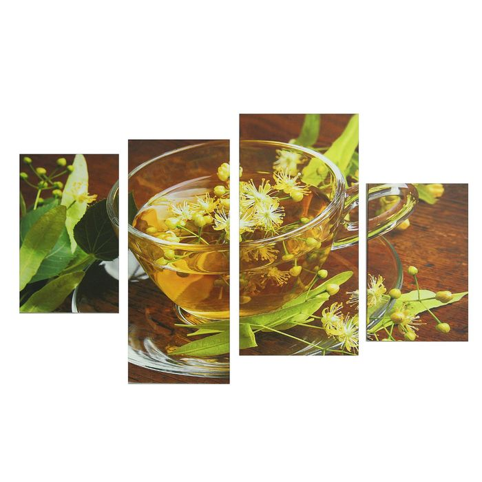 "Картина модульная на подрамнике ""Цветочный чай"" 2-30х45; 1-29,5х69; 1-34х69, 80*130 см - фото 1654012"