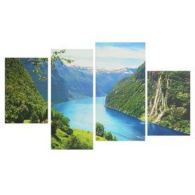 """Картина модульная на подрамнике """"Горная река"""" 2-30х45; 1-29,5х69; 1-34х69, 80*130 см"""