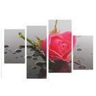 """Модульная картина на подрамнике """"Роза с каплями"""", 2 — 30×45, 1 — 29,5×69, 1 — 34×69, 80×130 см"""