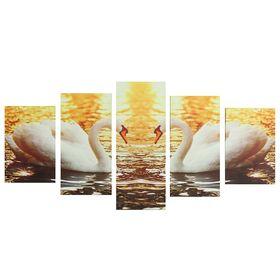 """Картина модульная на подрамнике """"Лебеди"""" 2-20х30; 2-20х40; 1-20х50, 50*110 см"""