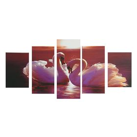"Картина модульная на подрамнике ""Пара лебедей"" 2-20х30; 2-20х40; 1-20х50,  50*100 см"