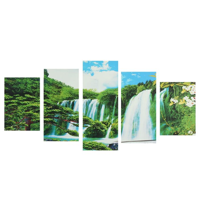 "Модульная картина на подрамнике ""Водопад"", 2 — 20×30, 2 — 20×40, 1 — 20×50, 50×110 см"