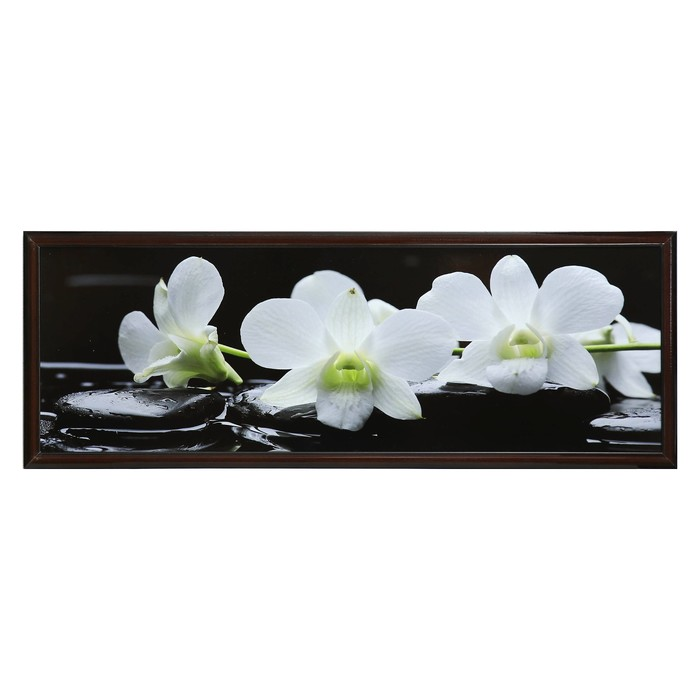 "Картина ""Орхидеи на чёрных камнях"" рама микс"