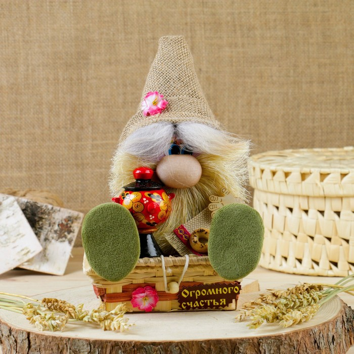 Оберег «Домовичок Андрейка», с самоваром, на сундуке, 20 см, микс