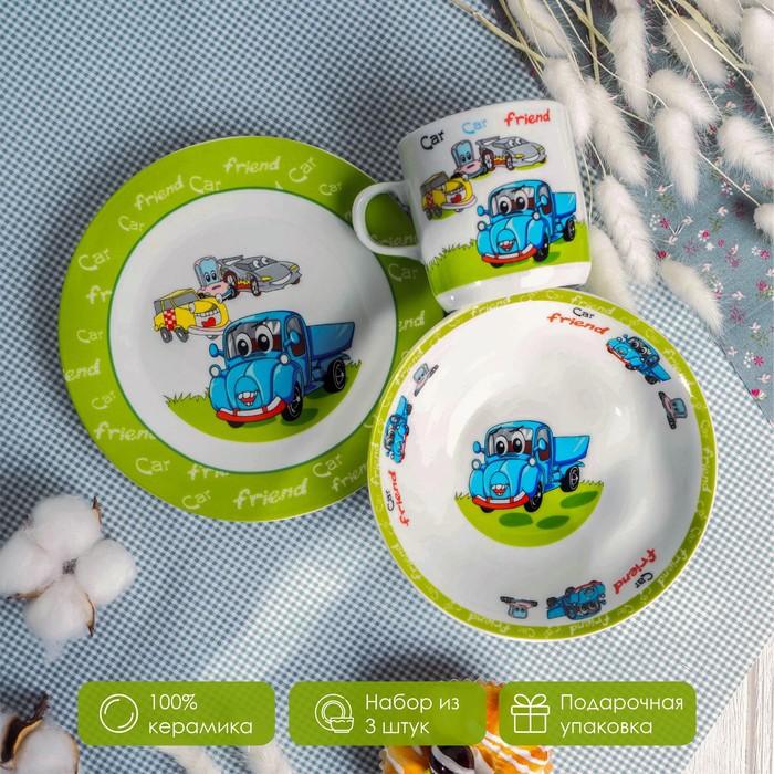 Набор детской посуды Доляна «Друзья», 3 предмета: кружка 230 мл, миска 400 мл, тарелка - фото 7329220