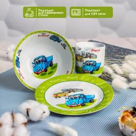 Набор детской посуды Доляна «Друзья», 3 предмета: кружка 230 мл, миска 400 мл, тарелка - фото 7329221