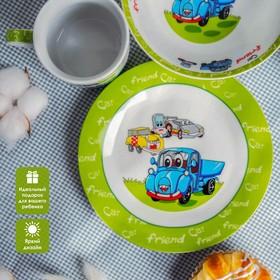 Набор детской посуды Доляна «Друзья», 3 предмета: кружка 230 мл, миска 400 мл, тарелка - фото 7329222