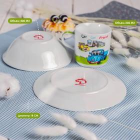 Набор детской посуды Доляна «Друзья», 3 предмета: кружка 230 мл, миска 400 мл, тарелка - фото 7329223