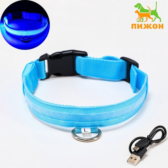 Ошейник с подсветкой, зарядка от USB, до 50 см, 3 режима свечения, голубой