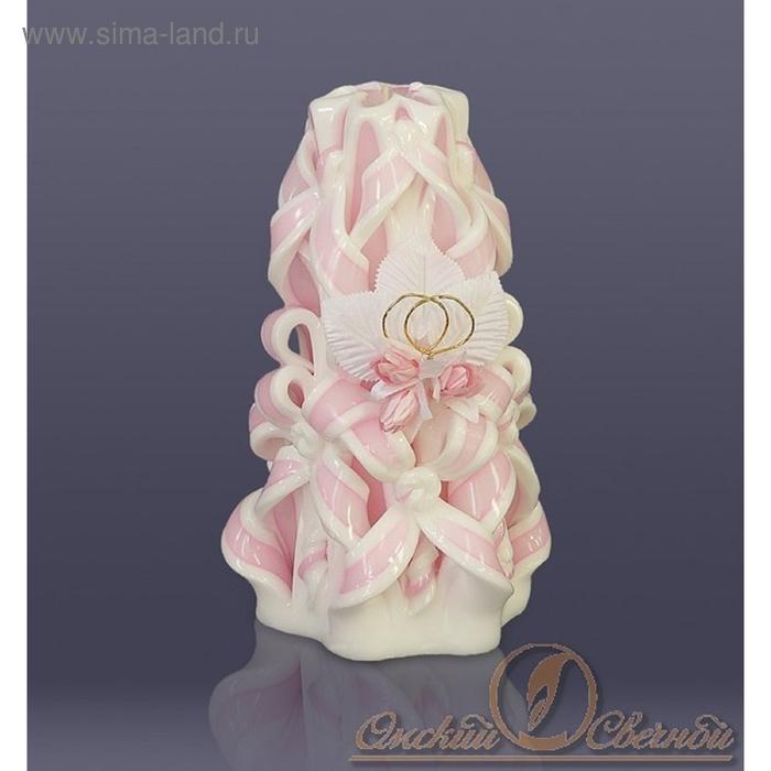 Свеча Средняя-резная (розовая)