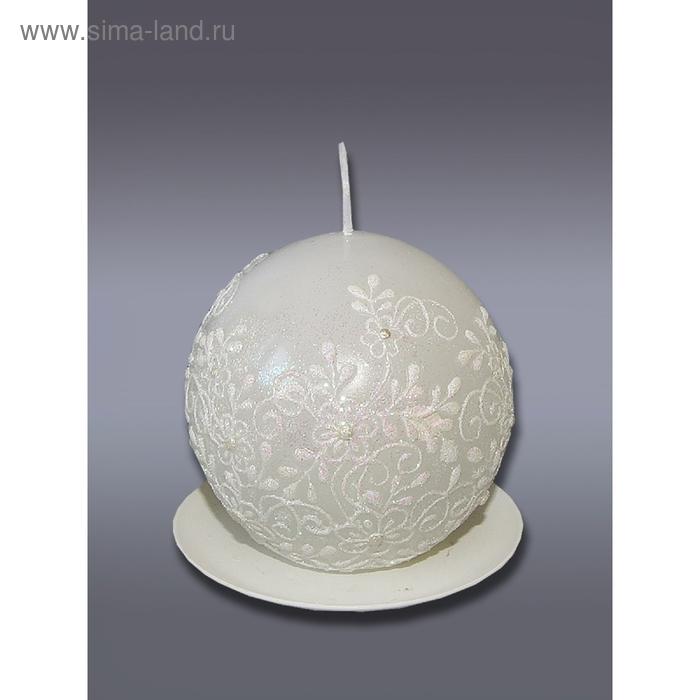 """Свеча мигающая шар """"Кружево"""" белая"""