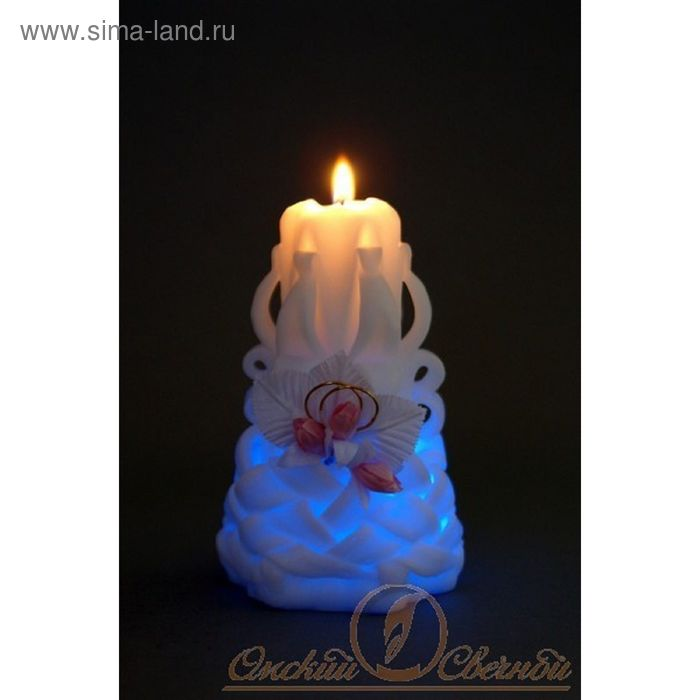"""Свеча мигающая """"Кольца и розы"""" резная"""