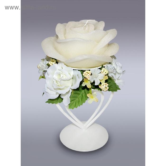 Свеча роза свадебная с подсвечником кремовая