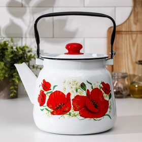Чайник Сибирские товары «Маки» 3,5 л, эмалированная крышка