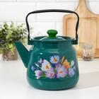 Чайник 3,5 л с декором, цвет бирюзовый