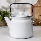 Чайник, 3,5 л, эмалированная крышка, цвет белый