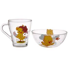 Набор детской посуды GiDGLASS «Цыплята», 2 предмета: кружка 250 мл, салатник 250 мл 13 см, цвет МИКС
