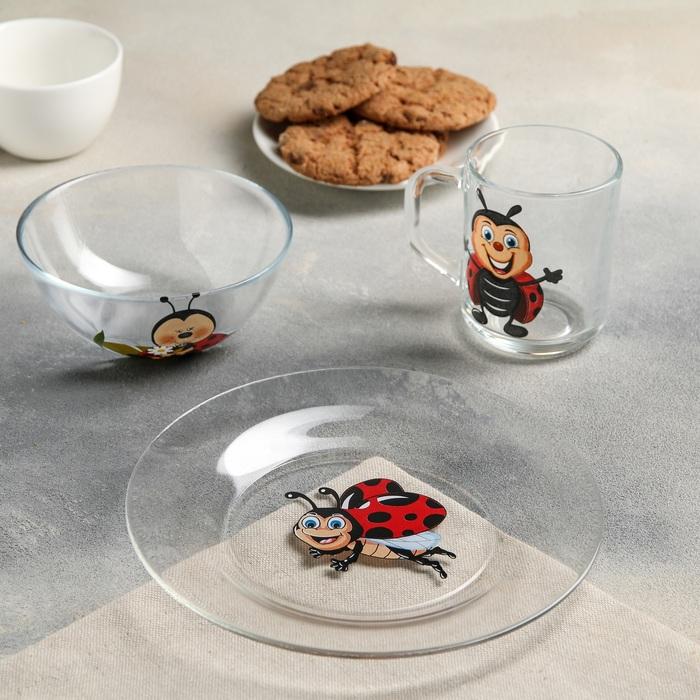 "Набор для завтрака ""Божья коровка"": тарелка 19,5 см, кружка 200 мл, миска 250 мл 13 см"