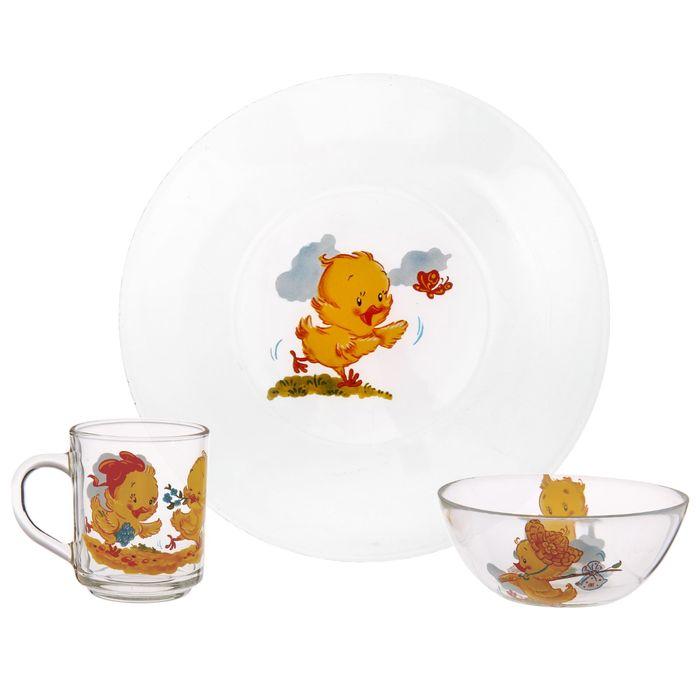 "Набор для завтрака ""Цыплята"": тарелка 19,5 см, кружка 200 мл, миска 250 мл d=13 см"
